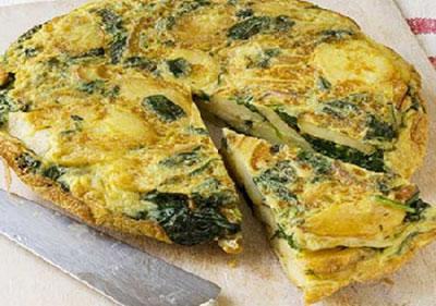نتیجه تصویری برای املت سیبزمینی با پنیر و اسفناج